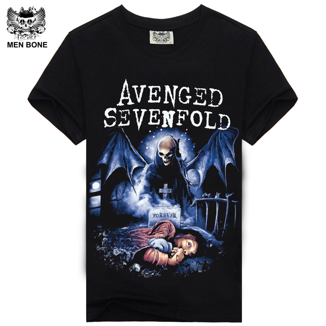 [Men Bone] Avenged Sevenfold Heavy Metal Rock Men T Shirt Print T-shirts Short Sleeve O-neck Hiphop Casual Men Tees T-Shirt