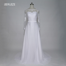 JIERUIZE White Vintage Lace Appliques Long Sleeves Wedding Dresses Sheer Back Buttons Cheap Bridal Gowns vestido de noiva