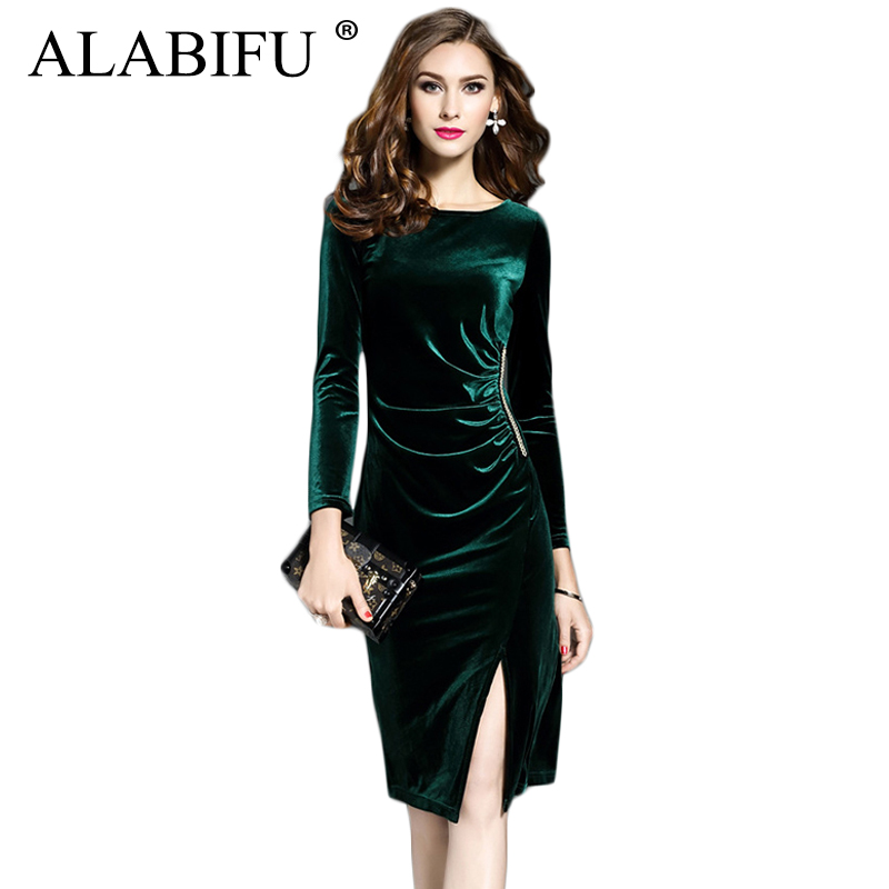 ALABIFU 2019 Spring Summer Dress Women Casual Long Sleeve Velvet Dress  Elegant Sexy Split Long Party 5251e8b49fb8