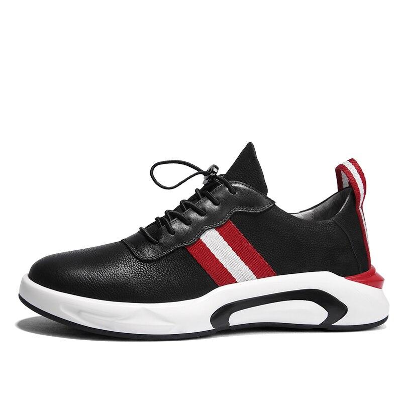 แฟชั่นผู้ชายหนังแท้รองเท้าสวมใส่ด้านล่างรองเท้าผ้าใบสีดำ Cool ผู้ใหญ่รองเท้ารองเท้า Krasovki Zapatillas-ใน รองเท้าลำลองของผู้ชาย จาก รองเท้า บน   2