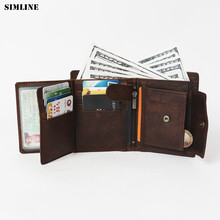 Vintage Casual Genuine Leather Crazy Horse Leather Cowhide Men Short Wallet Wallets Purse Card Holder Coin Pocket For Men 523