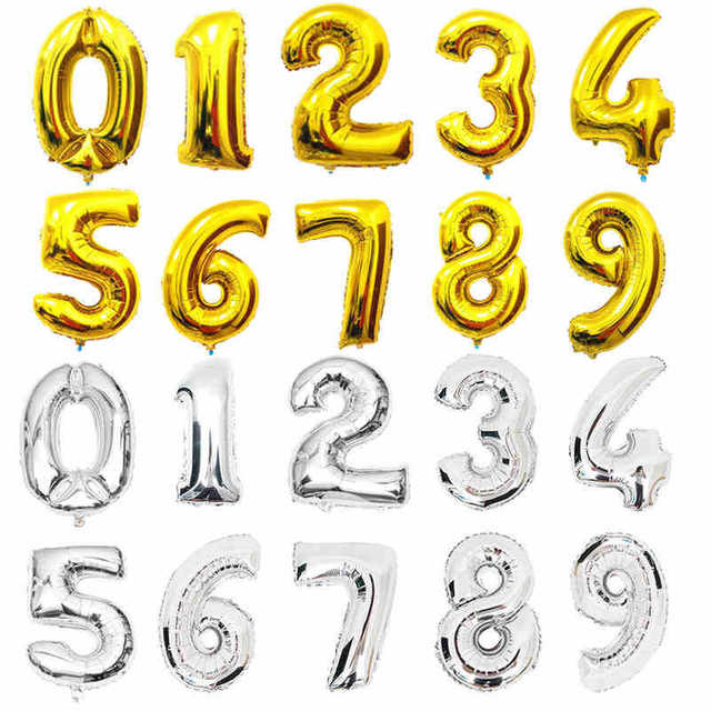 30 inch Shining Gold Silver 0 1 2 3 4 5 6 7 8 9 Number Balloons Birthday Party Decoration ballon Wedding Events kids party