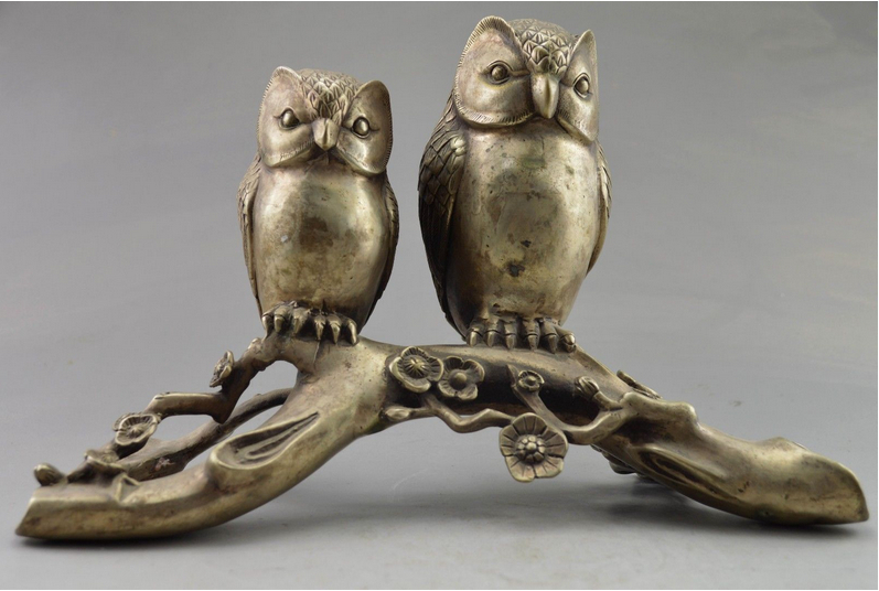 Metal Crafts Collectible Decorate Old Handwork Tibet Silver Carve Pair Birds On Tree Big Statue