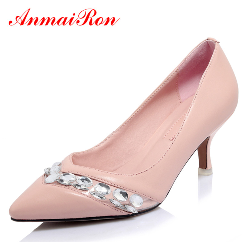 6173e4f30df ANMAIRON High Heels Shoes Women Crytal Pointed Toe Kitten Heel Pumps White  Pink Party Wedding Shoes Woman Rhinestone Lady Shoes-in Women s Pumps from  Shoes ...