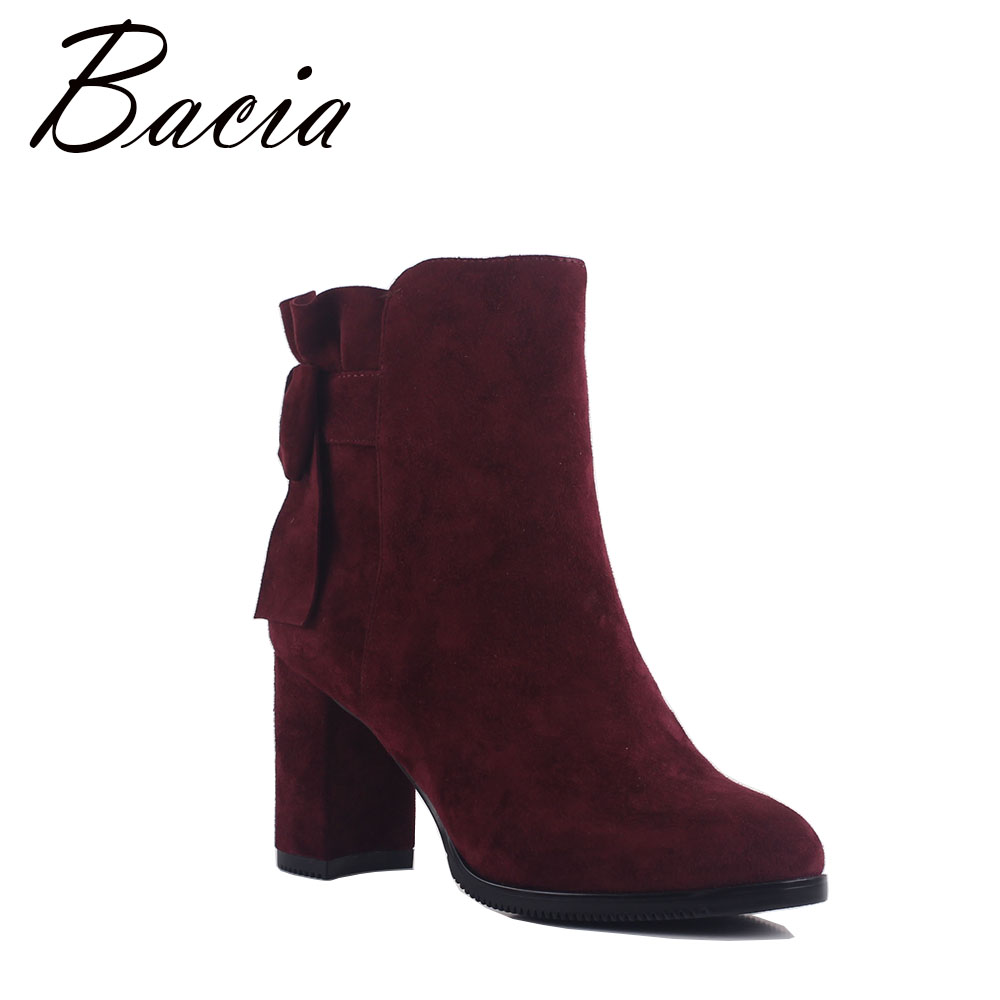 Bacia Red Boots Sheep Suede Ankle Boots Bow-Knot Shoes Women Fashion High Heels Boots Natural Sheepskin Short Boots MB016 hot fashion berry embroidered lady spike heels shoe mujer red suede ankle boots cowboy short boots women high heels boots shoes