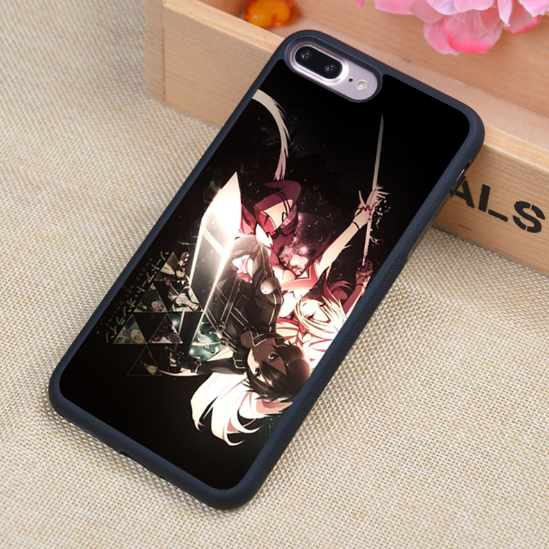 sword art online Anime Style Printed Soft Rubber Phone Cases For iPhone 6 6S Plus 7 7 Plus 5 5S 5C SE 4 4S Back Cover Skin Shell