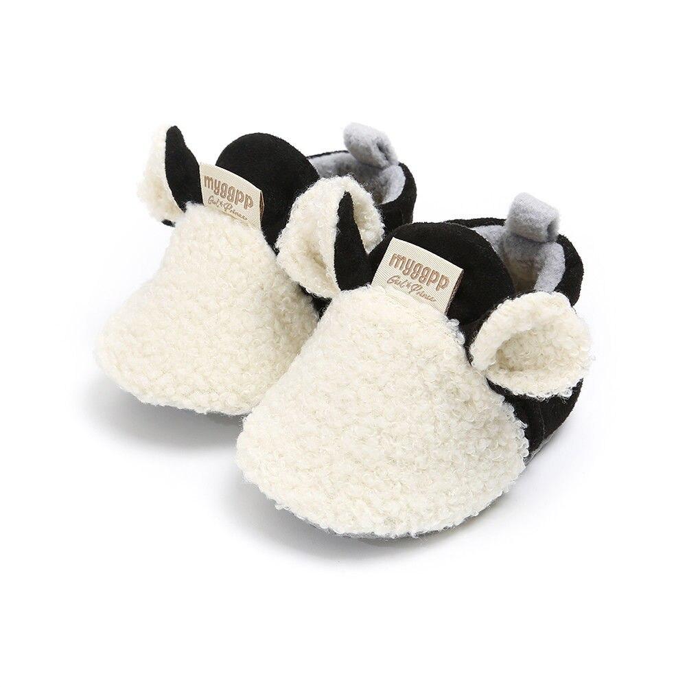 2018 Brand New Toddler Newborn Baby Crawling Shoes Boy Girl Lamb Slippers Prewalker Trainers Fur Winter Animal Ears First Walker 5