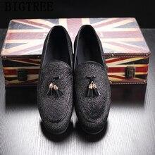 358184944 حذاء رجالي الرسمي الفاخرة العلامة التجارية المتسكعون حذاء رجالي أنيقة شرابة  الزفاف اللباس sepatu زلة على