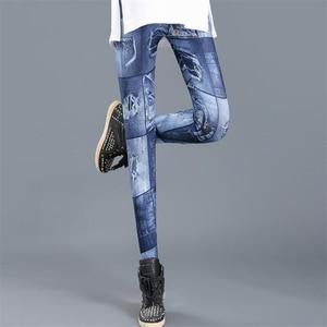 Image 2 - Ygyeegカウボーイスリムレギンス2019新ファッションレギンス女性のためのデニムパンツスリムフィットネスプラスサイズレギンス婦人服