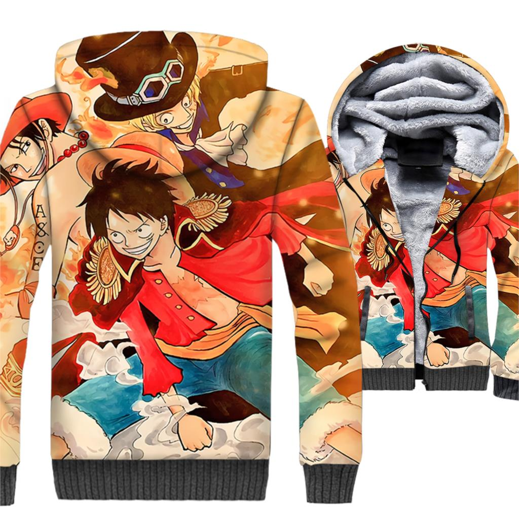 3D Printed Anime one piece jackets hipster hooded 2019 men thicken swag brand coats hoodies winter streetwear Naruto sweatshirt
