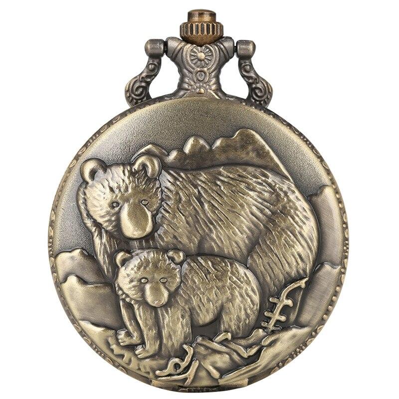 Reloj Mujer Creative Polar Bear Pattern Pocket Watch For Women Men Large Dial Quartz Pocket Watch Retro Thick Chain Watch