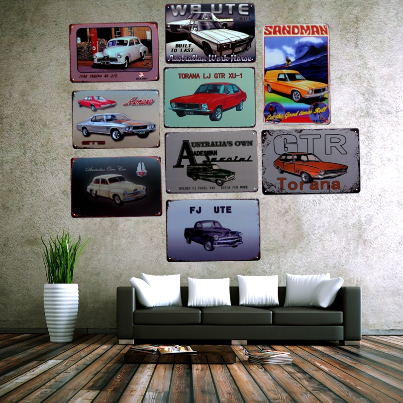Classic Car Metal Painting Carteles de chapa Imagen de pared para Garage Home Cafe Art Decor Cuadros Wall sticker 30X20CM A-9003