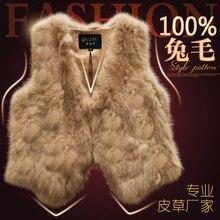 100% Natural rabbit fur vest waistcoat girls slim brief sleeveless coat new 2015 autumn and winter free transport