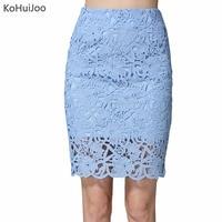 KoHuiJoo 2018 Del Merletto di Estate Gonne Donna Plus Size Scava Fuori Lady Sexy Gonna Grande Formato A Vita Alta Di Alta Qualità Bianco Blu