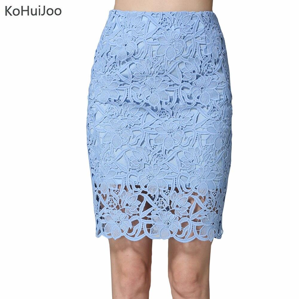Kohuijoo 2018 Summer Lace Skirts Women Plus Size Hollow -8123