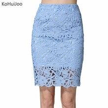 KoHuiJoo 2019 夏のレースのスカート女性プラスサイズ中空アウト女性のセクシーなペンシルスカートビッグサイズハイウエスト高品質白青