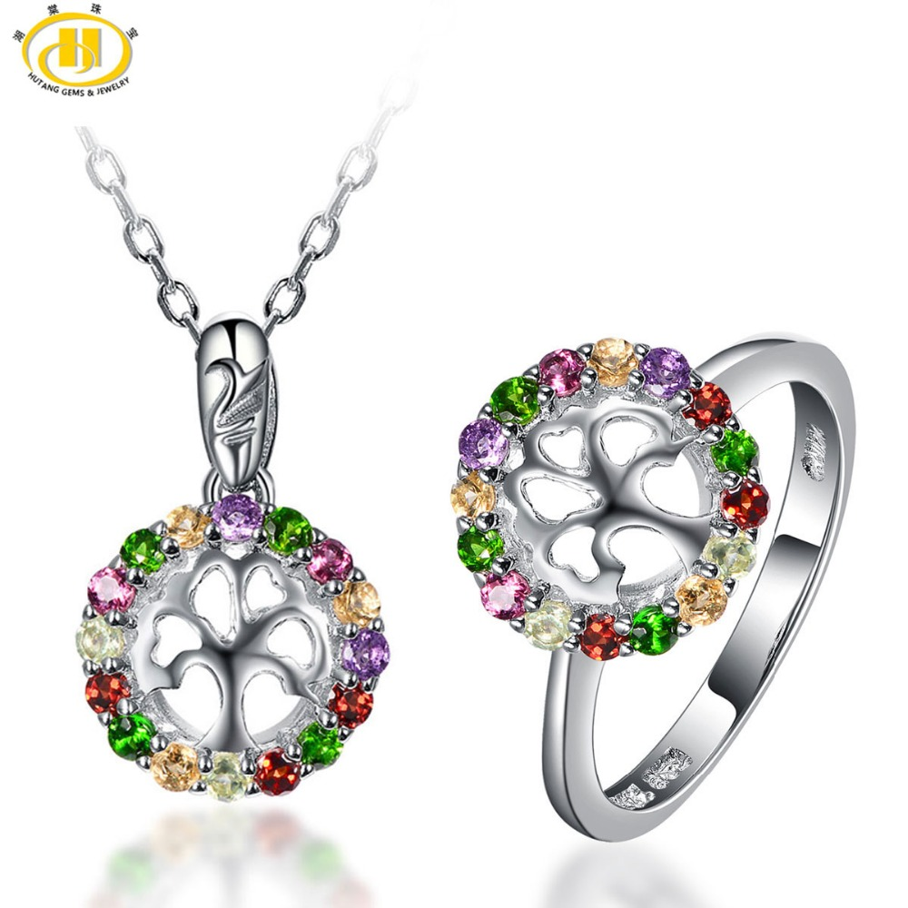 Hutang Natural Multi-color Gemstones Family Tree Jewelry Sets Solid 925 Sterling Silver Ring & Pendant Fine Jewelry For WomensHutang Natural Multi-color Gemstones Family Tree Jewelry Sets Solid 925 Sterling Silver Ring & Pendant Fine Jewelry For Womens