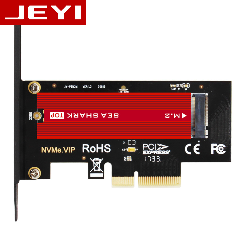 JEYI SK4 Plus M.2 NVMe SSD NGFF TO PCIE X4 Adapter M Key Interface Card Suppor PCI Express 3.0 X4 2230-2280 Size M.2 FULL SPEED