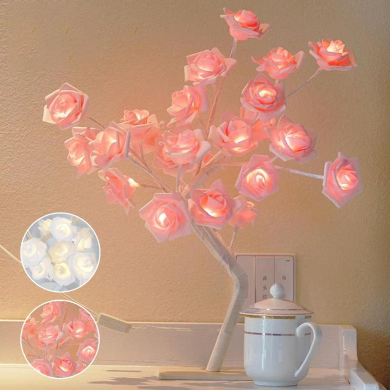 Romantic White & Pink 3D Rose Flowers Tree Lamp Bedroom Desk Bookcase Night Light Home Bar Party Creative Decoration US/EU Plug fumat rose tree night lights novelty blossom tree lamp luminarias led home decoration indoor lighting pink white night lamps