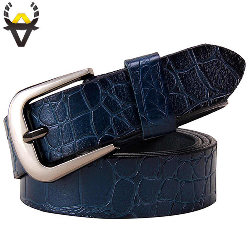 Genuine leather belts for women Fashion Pin buckle woman belt High quality second layer cow skin strap female width 2.8 cm Blue
