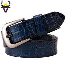 Ceintures en cuir véritable pour femmes, à boucle ardillon, de haute qualité, deuxième couche, en peau de vache, largeur 2.8 cm, bleu