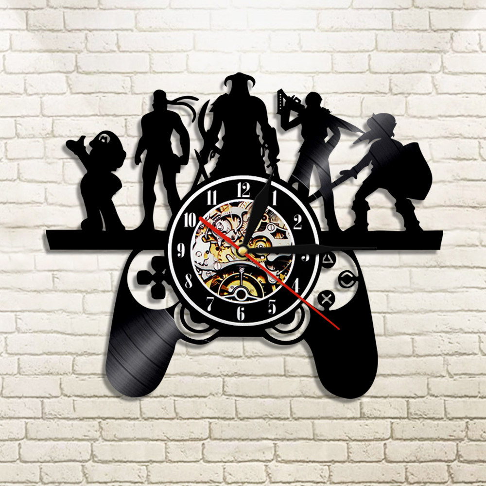 1Piece Play Game Characters Theme Vinyl Record Wall Clock Play Game LED Light Vintage LP Handmade Gift For Game Player
