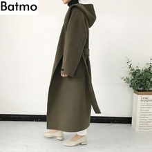 Batmo 2018 new arrival winter high quality Cashmere&Wool women's hooded long trench coat,women's army green long parkas 18s16