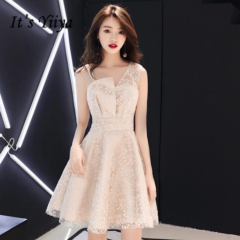 It's YiiYa Bridesmaid Dress Champagne Sleeveless Short Party Dresses Women bridesmaid Snow Pattern Fomal Gown E018