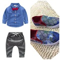 3PCS  shirt+pants+shoe clothing set autumn and spring baby boys coat boy suit child active costume boy long sleeve shirt