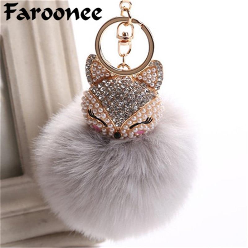 a90d441c8b Women Chaveiro Angel Keychain 8cm Fur Pom Pom Key Chain Faux Rabbit ...