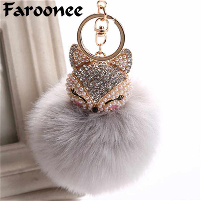 Charms Crystal Faux Fox Fur Keychain Women Trinkets Suspension Bags Car Key Chain Key ring Toy Gifts Llaveros Jewelry Pendants