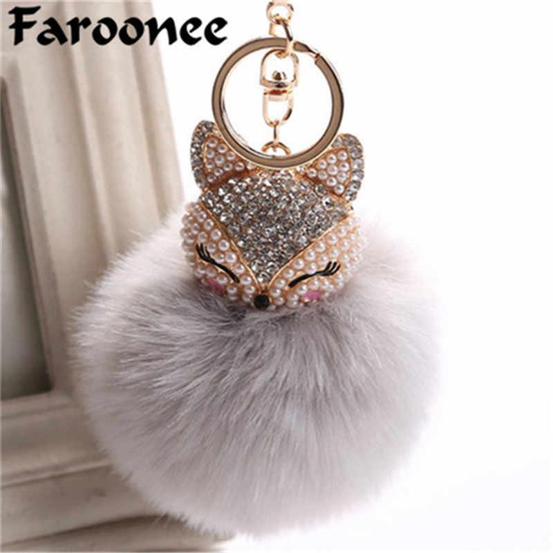 94d6093a82b5 Charms Crystal Faux Fox Fur Keychain Women Trinkets Suspension On Bags Car  Key Chain Key ring