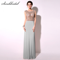 New Arrive Elegant Evening Dresses 2017 Fashionable A line Beading Floor Length Prom Dresses Party Gowns Real Photos TZ015