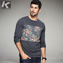 Herbst Mens Casual T Shirts Blumenmuster Patchwork Marke Kleidung Langarm-schlank Mann T-Shirts Kleidung Tops Tees