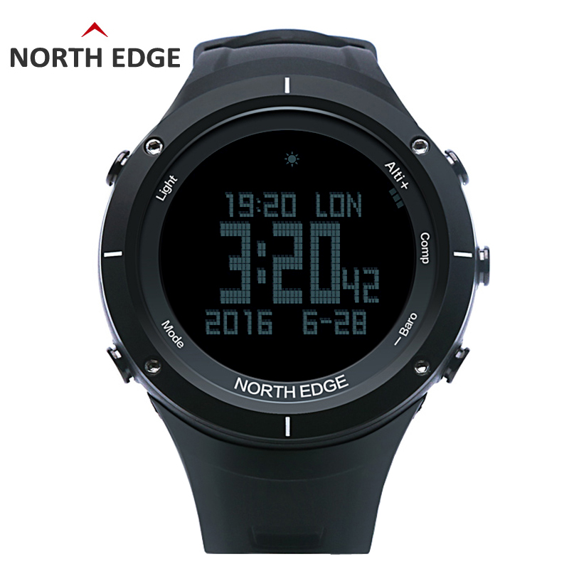NORTH EDGE Men's sport Digital watch Hours Heart rate Running Swimming watches Altimeter Barometer Compass Thermometer Pedometer north edge men s sport digital watch hours running swimming sports men watches altimeter barometer compass thermometer weather