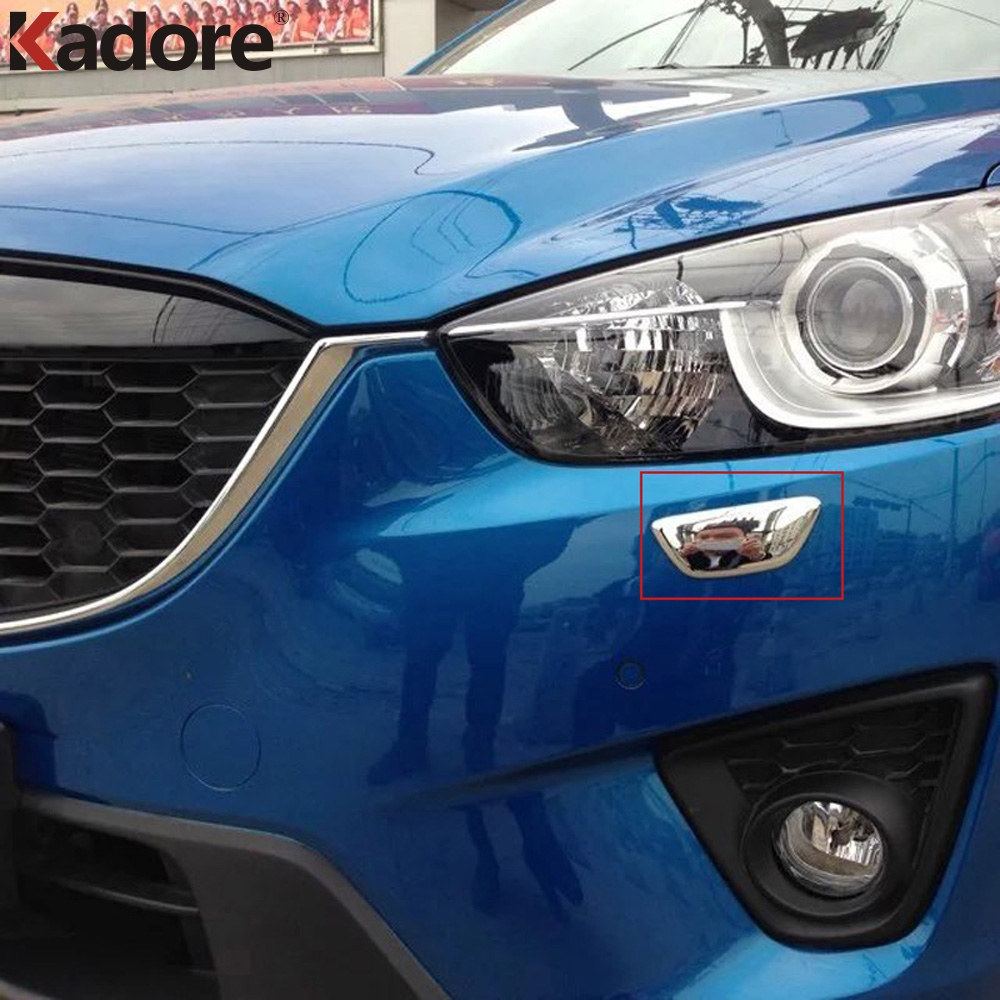 For <font><b>Mazda</b></font> CX-5 <font><b>CX5</b></font> 2012-2014 <font><b>2015</b></font> 2016 ABS Chrome Car Front Head Light Clean Wash Dash Frame Cover Trim Exterior <font><b>Accessories</b></font> image