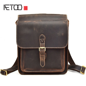 AETOO Crazy horse leather shoulder bag leather men's backpack A4 books first layer skin men bag Europe and the United States sty