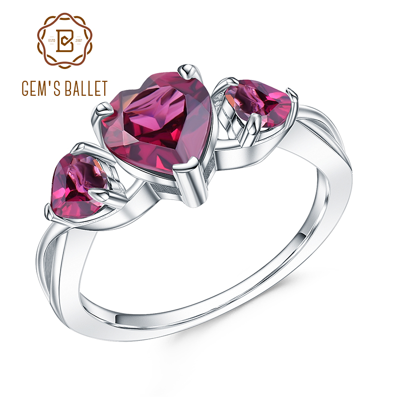 GEM S BALLET 925 Sterling Silver Birthstone Ring 2 06Ct Natural Rhodolite Garnet Heart Rings For