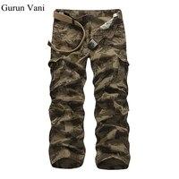 Модная брендовая одежда Для мужчин S мульти карман Мотобрюки свободные хлопковые армии Военное дело камуфляж форма Брюки для девочек брюки-...