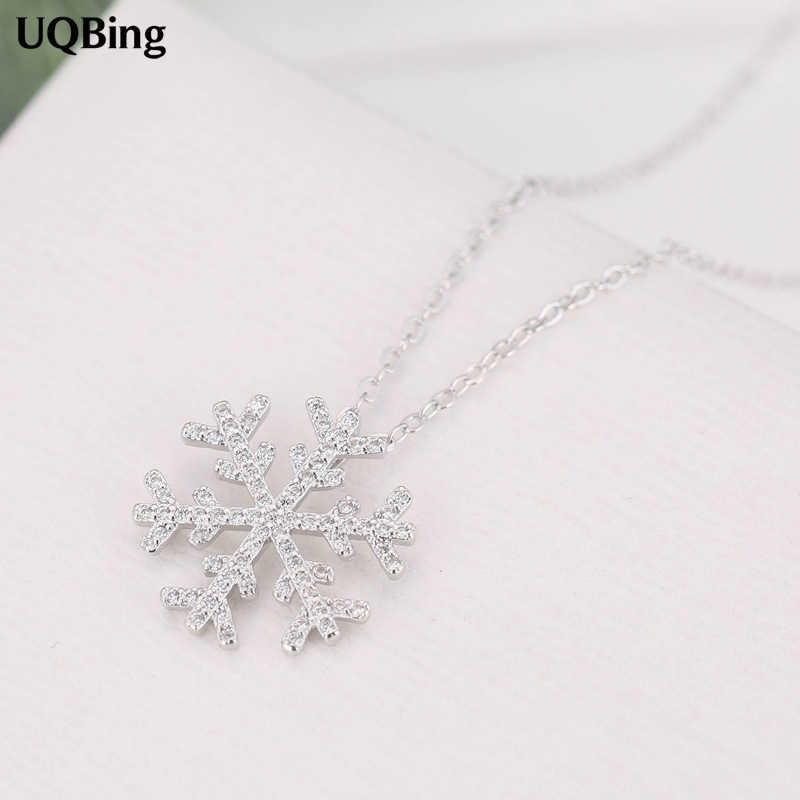 925 Sterling Silver Rhinestone Snowflake Pendants&Necklaces Pure Sterling Silver 925 Chain Necklace Jewelry