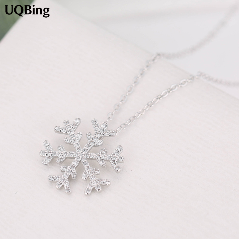 925 Sterling Silver Rhinestone Snowflake Pendants&Necklaces Pure Sterling Silver 925 Chain Necklace Jewelry rhinestone studded chain necklace