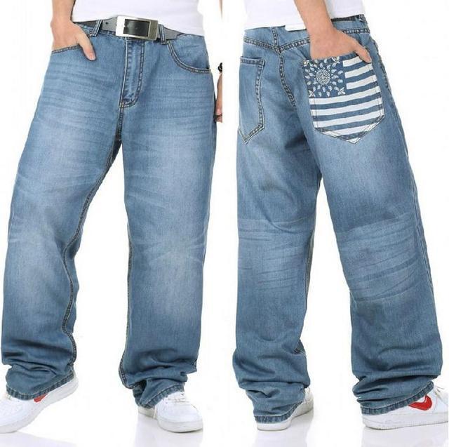 Men loose Jeans HIP HOP Skateboard Pants Men's Jeans Fashion Men Jeans trousers Size 30-46