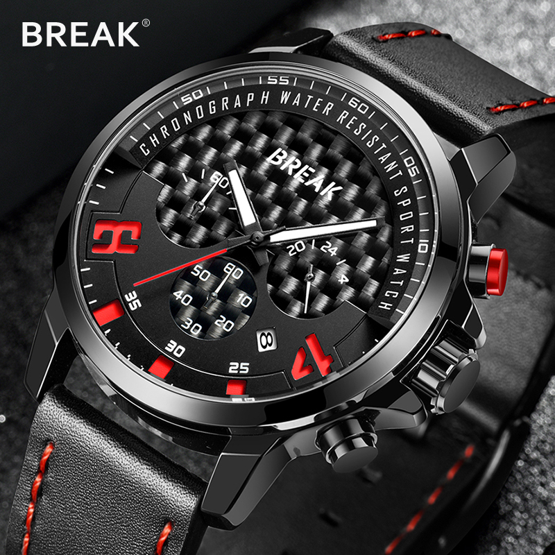 Relogio Masculino BREAK 2018 Fashion Quartz Men Watch Top Brand Luxury Leather Watches Waterproof Multifunction clock 2017 luxury brand wishdiot fashion leather strap multifunction watches men quartz clock waterproof wristwatch relogio masculino