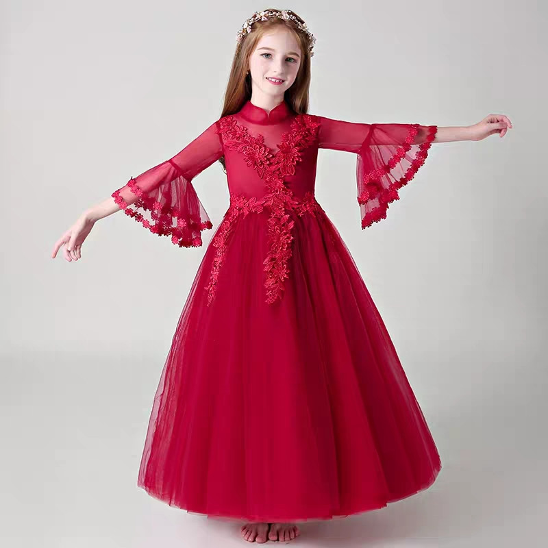Children Girls Luxury Embroidery Lace Flowers Birthday Wedding Party Long Prom Dress 2018 Autumn Kids Teens Piano Costume DressChildren Girls Luxury Embroidery Lace Flowers Birthday Wedding Party Long Prom Dress 2018 Autumn Kids Teens Piano Costume Dress