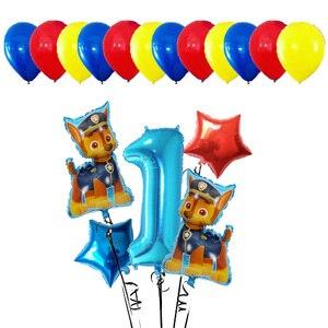 Image 2 - Lote de 17 unidades de Globos de aluminio de la patrulla canina, Globos de mano con dibujos animados de perro, Globos de cumpleaños, juguetes para niños, Globos con números de 32 pulgadas