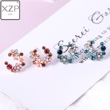 XZP Korean Enamel Jewelry Sweet Bohemian Stud Earrings Leaf Flower Gold Silver Crystal Womens Elegant