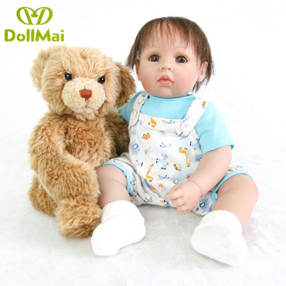 DollMai Exquisite Baby Puppe spielzeug 50CM Bebe Reborn kleinkind Mädchen Boneca Silikon Vinyl rebron baby angefüllte puppen spielzeug