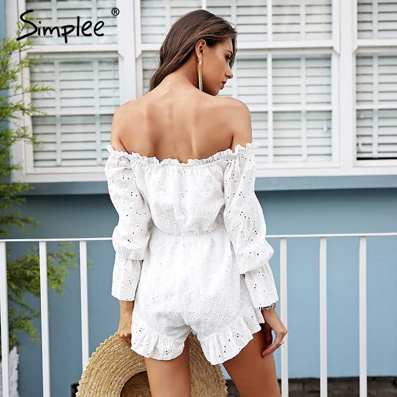 80e5b56313ba ... Simplee Lace up backless jumpsuit romper women Off shoulder cotton white  summer romper Ruffle long sleeve ...