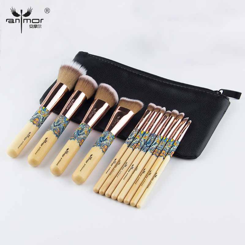 Anmor 12 PCS Professional Makeup Brushes Soft Synthetic Hair Brushes For Makeup Rose Gold Metal With PU Leather Case msq professional 15pcs makeup brushes set soft synthetic hair natural wood handle with pu leather case for beauty fashion tool