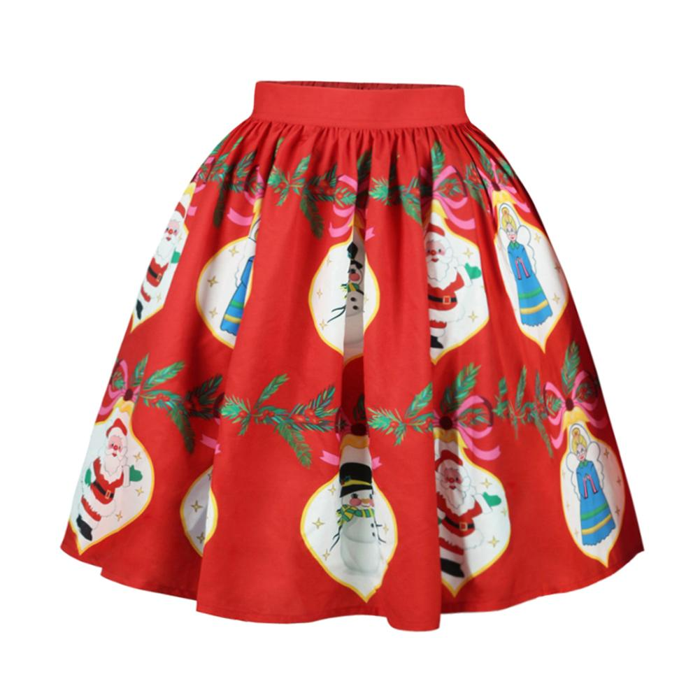 Elastic Waist Christmas Positioning Contrast Color Digital Print Design Slim Waist Flared Skirt Female High Waist Holiday Skirts